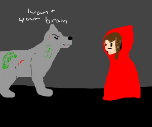 zombie wolf wants lil red riding hood brain