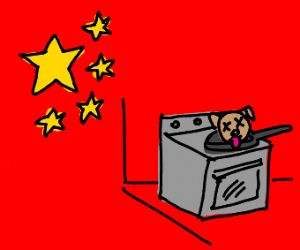 A Chinese dog being cooked :(