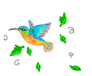 beautiful hummingbird flying with leaves