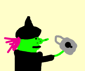 Witch with purple hair holding a lock