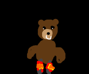 Teddy bear burnt his legs