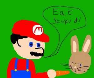 Mario forces a rabbit to eat a carrot
