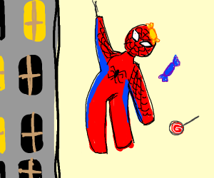 candy stuck on spiderman