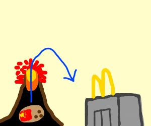 chinese potato in volcano goes to mcdonalds