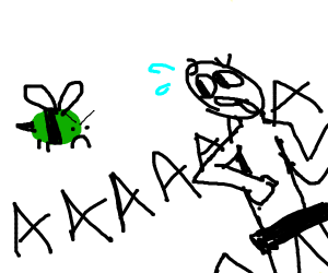Green bee chasing a naked man