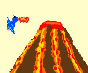 fire-breathing birds?? by a volcano..?