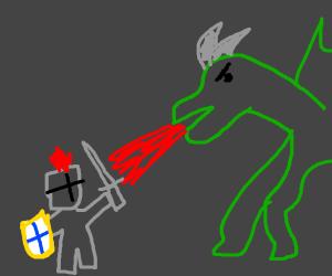 knight killing a dragon