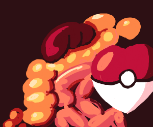 Pokeball shaped as a heart in some intestines
