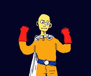 onepunchman wearing a yellow shirt