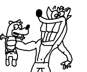 bear meets crash bandicoot with huge teeth