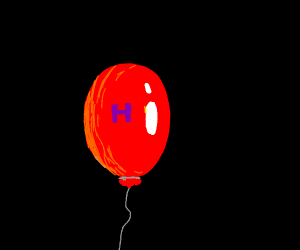 Letter H floating with a balloon