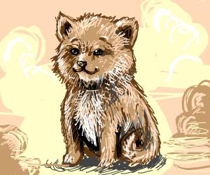 happy fluffy puppy
