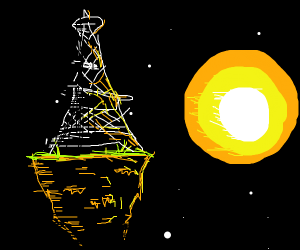 eiffel tower on deserted island in space