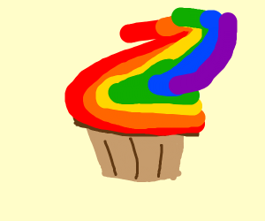 Muffin with Rainbow Vanilla Frosting