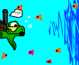turtle scuba diver