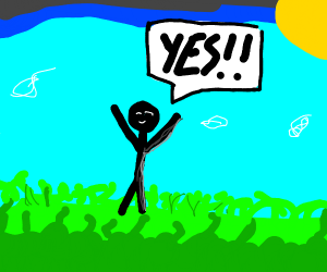 Stick man is excited