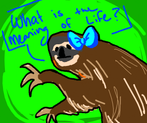 Sloth w/ blue hairbows contemplates existence