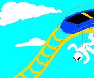 Menacing man falls down roller coaster