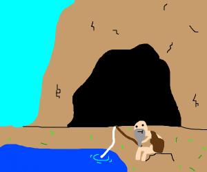 Cave man fishing