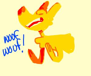 yellow dog barking