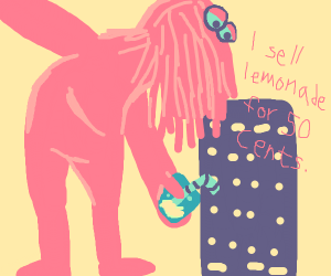 Big red guy sells lemonade for 50 cents