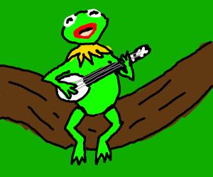 Kermit playing the banjo