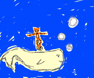tiger on a unicycle on a whale in the ocean