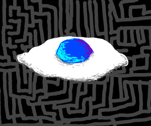 a maze with a egg with blue yolk