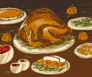Thanksgiving meal on a plate