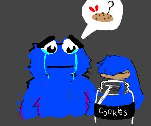 Cookie monster in tears at empty cookie jar