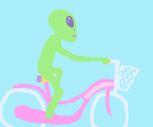 Alien riding a bicycle