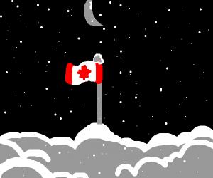 snow falling under a crescent moon