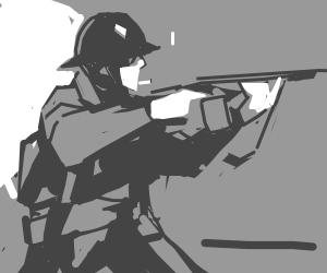Soldier in a war