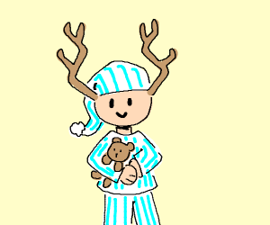 Guy with antlers in striped pajamas