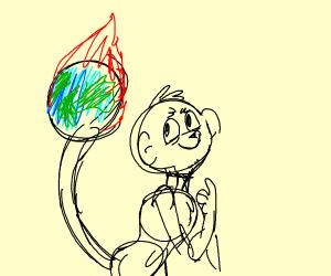 Monkey spins earth like a basketball