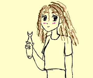 Scribble Haired Girl holds Dead Fish