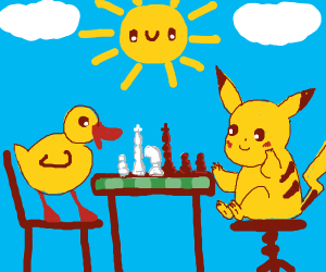 Pickachu playing chess with a duck