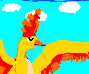 Moltres looking up at a blue cloudy sky