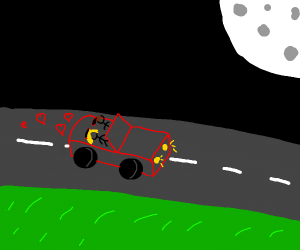 Man and girl go out to drive under moonlight