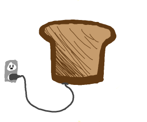 a toast plugged in. not a toaster, a toast.
