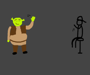 Shrek greets a dude on the other end of room