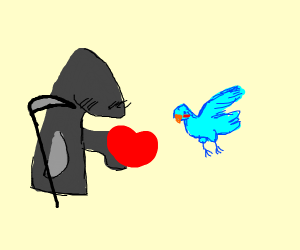 Death gives a bird some love