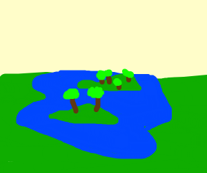 A lake with two small islands