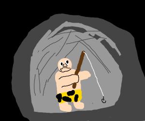 Caveman fishing for lost pet dori