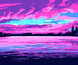 Pink sunset in the lake