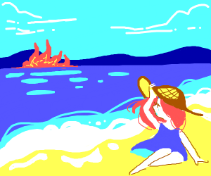 Girl on island watches ocean fire
