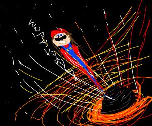 Mario getting sucked into black hole