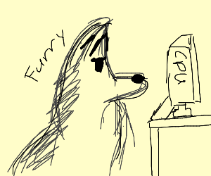 A furry at a computer