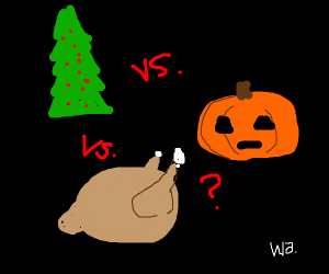 Halloween Thanksgiving Christmas Clipart.Christmas V S Halloween V S Thanksgiving Wa Drawception