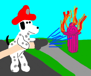Fireman Dog puts out Flaming Fire Hydrant